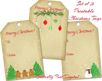 Printable Christmas Gift Tags, Set of Three, PNG Tags, Digital Collage Sheet, Instant Download