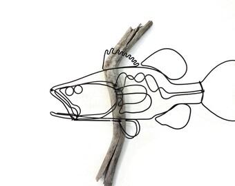Bass Wall Art, Bass Wire Sculpture, Fish Art, Fish Wallhanging, Fish Wire Art, 556031772