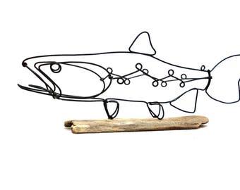 Trout Wire Sculpture, Fish Wire Art, Minimal Wire Design, 559682962