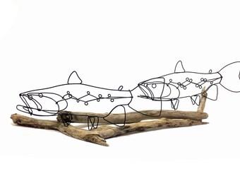 Double Trout Wire Sculpture, Trout Art, Fish Wire Art, Wire Folk Art, 578224695
