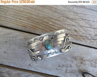 ON SALE Thunderbird turquoise cuff bracelet handmade and signed in sterling silver with a turquoise stone from the Kingman mine