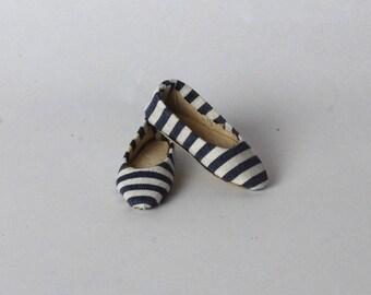 Handmade shoes ballerina flats in stripes  for FR16