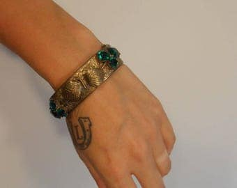 A Gift for Miss Lily Elsie - 1900s Art Nouveau Etched Floral Brass Hinged Bracelet w/Emerald Green Cut Glass Stones Leafs