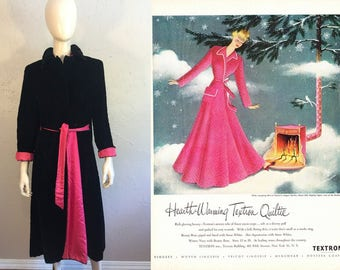 Quilting My Heart's Delight - Vintage 1950s Black Quilted Velvet House Coat w/Hot Pink Cuffs Sash