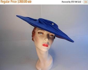 Anniversary Sale 35% Off Paris a la Mode  - Vintage 1950 Royal Blue Velvet Cartwheel Platter Wide Brim Hat Large Brim Hat