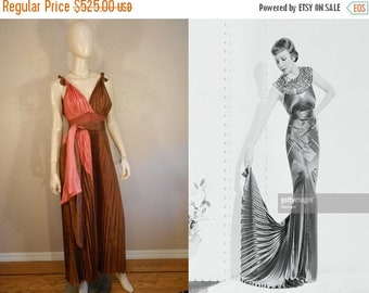 Anniversary Sale 35% Off Spread Your Wings and Fly - Vintage 1930s Bronze & Rose Rayon Accordion Pleated Dress w/Sash Tie - 4/6