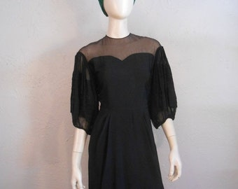 Anniversary Sale 35% Off Flying Down to Rio - Vintage 1930s Black Rayon Illusion Cocktail Dress w/Large Accordian Sleeves