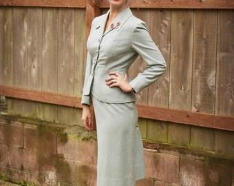 Anniversary Sale 35% Off London War Work - Vintage WW2 1940s Pale Blue Wool Blend Skirt Suit - 4/6