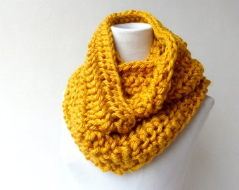 Yellow Infinity scarf Gold Cowl Chunky Scarf  Womens Knit Accessory