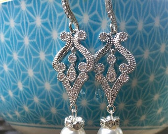 Bridal Chandelier earring, Rhinestone earrings, Wedding Jewelry, Crystal chandelier earrings,Victorian earrings, vintage bridal jewelry