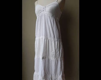ON SALE White Soft Cotton Crochet Lace Embroidered Bohemian Sundress Dress Bust 34 size 8 or size S