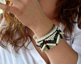 Urban Edge - Black, White and Dark Red Cuff, Tribal, Bead Embroiderd Bracelet Cuff, Red Glass, Buffalo Bone, Wool Felt, and Leather