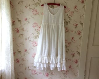 Washed Linen Soft White Pinafore Dress Romantic Ruffles Apron Sleeveless Linen Dress Lagenlook Made To Order