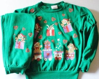 50% half off sale // Vintage 80s Ugly Christmas Sweatshirt and Matching Sweatpants - Kids 6 - Green Busy Bears - Childrens