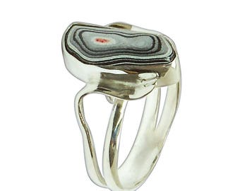 Fordite and Sterling Silver Ring, Size 6  r6frdf2822