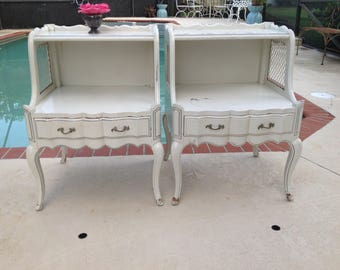 """FRENCH PROVINCIAL NIGHTSTANDS / Pair of French Provincial Side Tables / 29"""" tall x 21"""" x 20"""" French Shabby Chic Style at Retro Daisy Girl"""