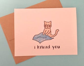 Cat Valentine - Cat Valentine Card - Cat Valentines Day Card - Cat Kneading - Valentine from Cat - Cat Lover Valentines - Cat Card
