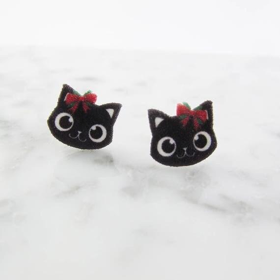cat, comic, christmas ribbon, female cat earring, black, red, hypoallergenic, plastic, stainless stud, handmade, les perles rares