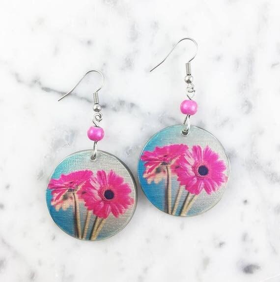 Resin earrings, flower, gerbera, pink, blue, handmade, sold, earring, hypoallergenic hook