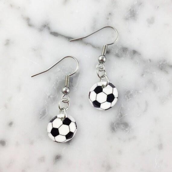 Soccer, foot, earring,  plastic, black, white, sport, stainless hook, handmade, les perles rares