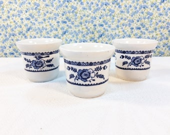 """Vintage Indies Johnson Bros 3 Egg Cups White Colonial Very Good Condition 2"""""""
