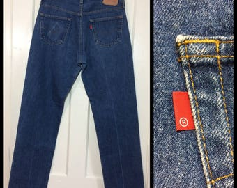1980s Levis 501 denim blue jeans 36X36, measures 33x33 original hem straight leg button fly made in USA wallet fade  boyfriend #336
