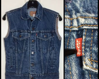 1980's Levi's cut-off sleeves vest faded denim blue jean jacket biker 4 Pocket size youth 14 #1914