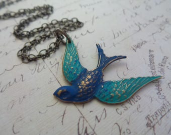 Blue Bird Necklace, Flying Bird, Long Pendant, Swallow Necklace, Bird Jewelry, Summer Party Jewelry, Summer Necklace, Summer Outdoors
