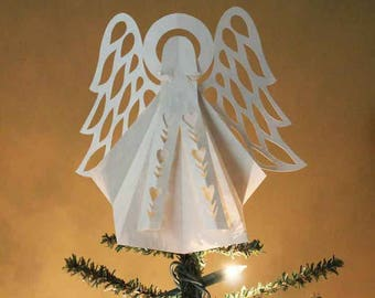 Angel Christmas Tree Topper - Ornaments  - Decoration - Scherenschnitte - Hand Paper Cutting Art - Parchment - signed & dated By Janet Lynch
