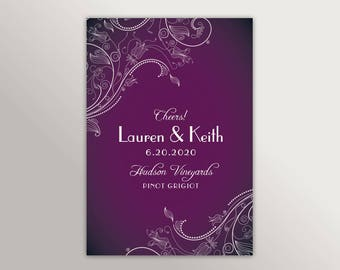Floral Lace Wine Labels • Wedding Table Number • Custom