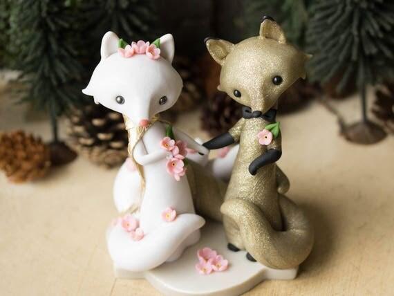 Kitsune Fox Wedding Cake Topper
