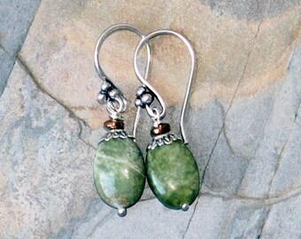 Green Earrings, Natural Stone Earrings, Gaspeite Earrings, Green Stone Earrings, Bohemian Earrings, Boho Earrings, Rustic Earrings, For Her