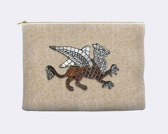 Griffin pencil case, zippered pouch, toiletry bag, cosmetic pouch, makeup bag, large cosmetic bag, small clutch, pencil pouch, gryphon