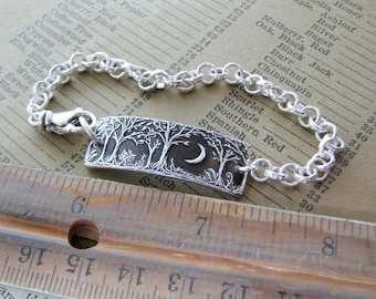 Forest Moon Bracelet No. 4, Fine Silver Jewelry, Handmade in Recycled Silver From Original Carving, by SilverWishes
