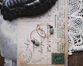 Beaded Hoop Earrings. Small Gold Hoops, Sage Green Bead Earrings, Boho Jewelry for Women