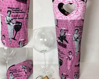 Vintage Ladies Wine Drinking Sayings Funny Retro Wine Bag Wine Gift Bag