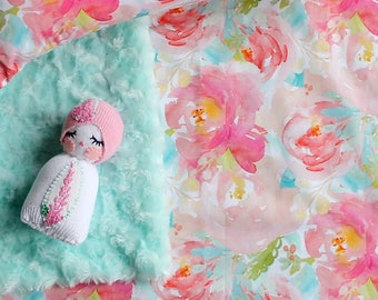 Aqua and Pink Crib Sheet in Exclusive Pastels and Peonies Watercolor Floral Design   High Quality Satin Sateen Print from Lottiedababy