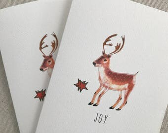 Illustrated Cards, Reindeer Cards, Holiday Cards, Thank You Cards, Set, Blank Inside, Gift Card, Greeting Cards, Holiday Hostess Gift