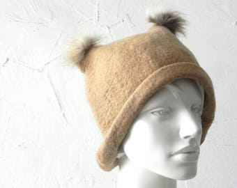 Felt hat, brown hat, felted original hat, woman hat from wool, Ready to send
