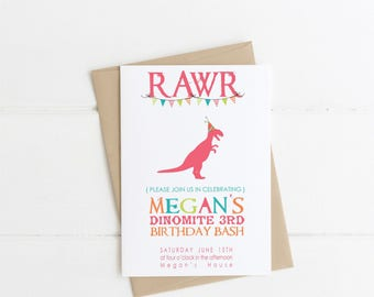 DINOSAUR Rawr Printable Party Invitations - I design - YOU PRINT