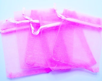 Pink Organza Bags, Pink Bags, Gift Bags, 25 pieces, 7x9cm (2.75x3.5 in), Wedding Favor Bags, Party Favor Bags, Gift Bags, Jewelry Pouches