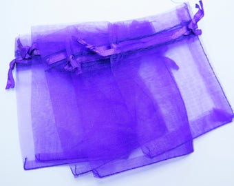 Purple Organza Bags, 25 pieces, 7x9cm (2.75x3.5 in), Gift Bags, Wedding Favor Bags, Party Favor Bags, Jewelry Pouches, Zardenia