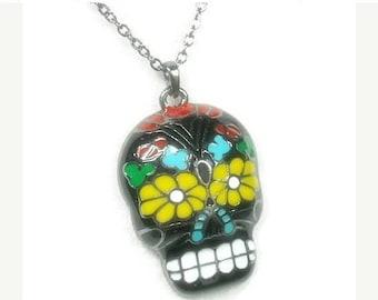 Sugar Skull Necklace - Dia de los Muertos - Day of the Dead - Skull Pendant Necklace - Halloween - Calaveras - Sugar Skull Jewelry