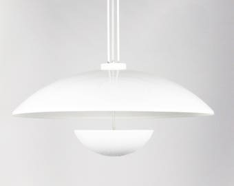"Vintage XL 36"" Mid-Century Modern White Mushroom Pendant Light"