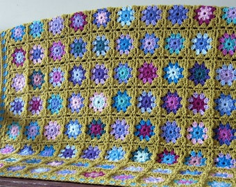 Sublime Forget Me Not Crochet Blanket Green Granny Squares Sofa Throw
