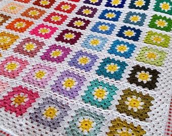 Daisy Flowers Fresh GRANNY SQUARES Crochet Afghan BLANKET In Stock