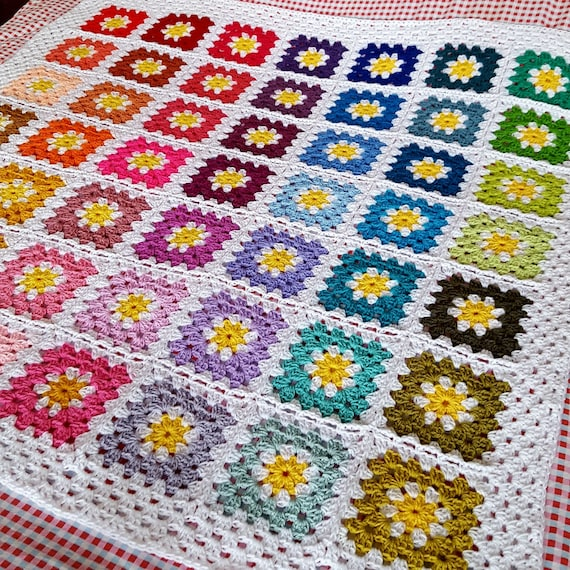 Daisy Flowers Fresh GRANNY SQUARES Crochet Afghan BLANKET In Stock