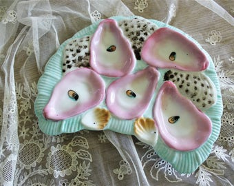 Antique French Porcelain Majolica Oyster Plate