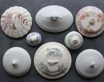 8 Antique White Ironstone and Transferware Covers