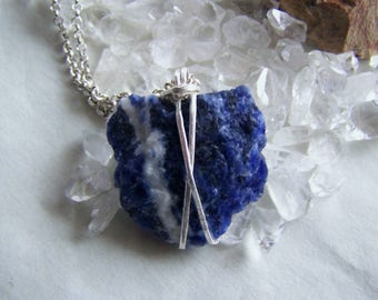 Blue Sodalite Raw Natural Gemstone Wire Wrapped Pendant